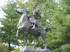 Sybil Ludington and Star on their famous ride.