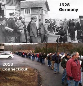 In line to register their legally owned guns. Germany and CT.